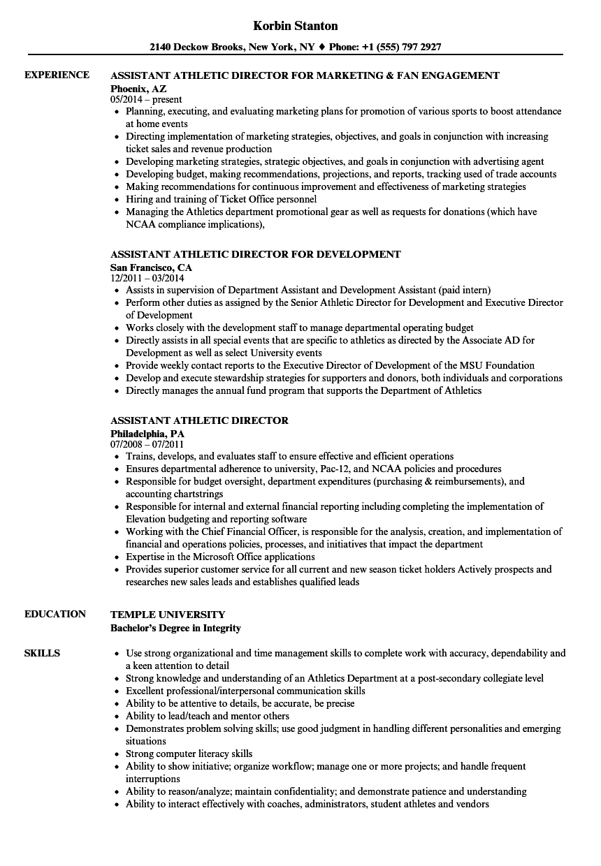 Download Assistant Athletic Director Resume Sample As Image File