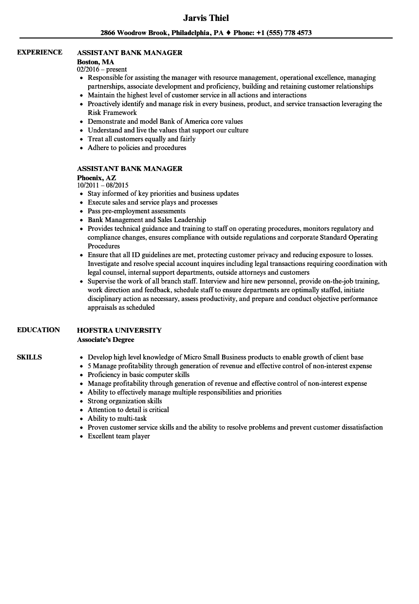 Assistant Bank Manager Resume Samples Velvet Jobs