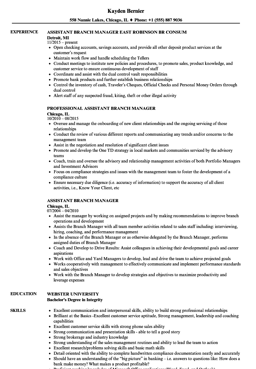 Download Assistant Branch Manager Resume Sample As Image File