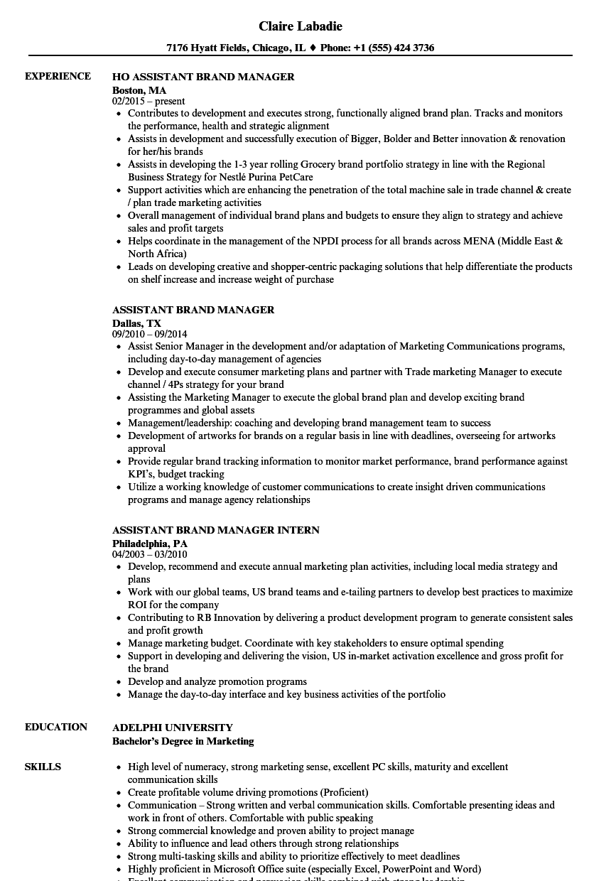Assistant Brand Manager Resume Samples | Velvet Jobs