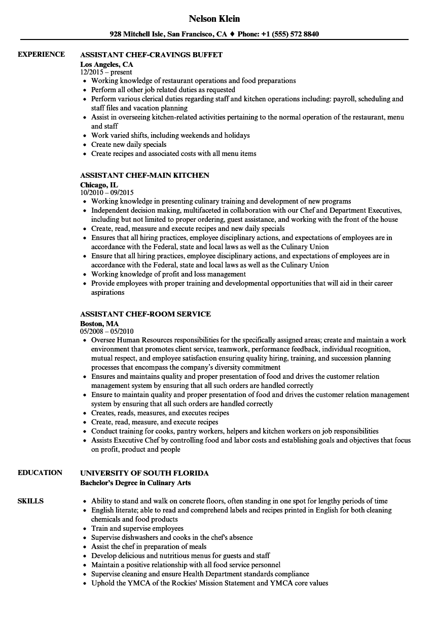 Assistant Chef Resume Samples Velvet Jobs