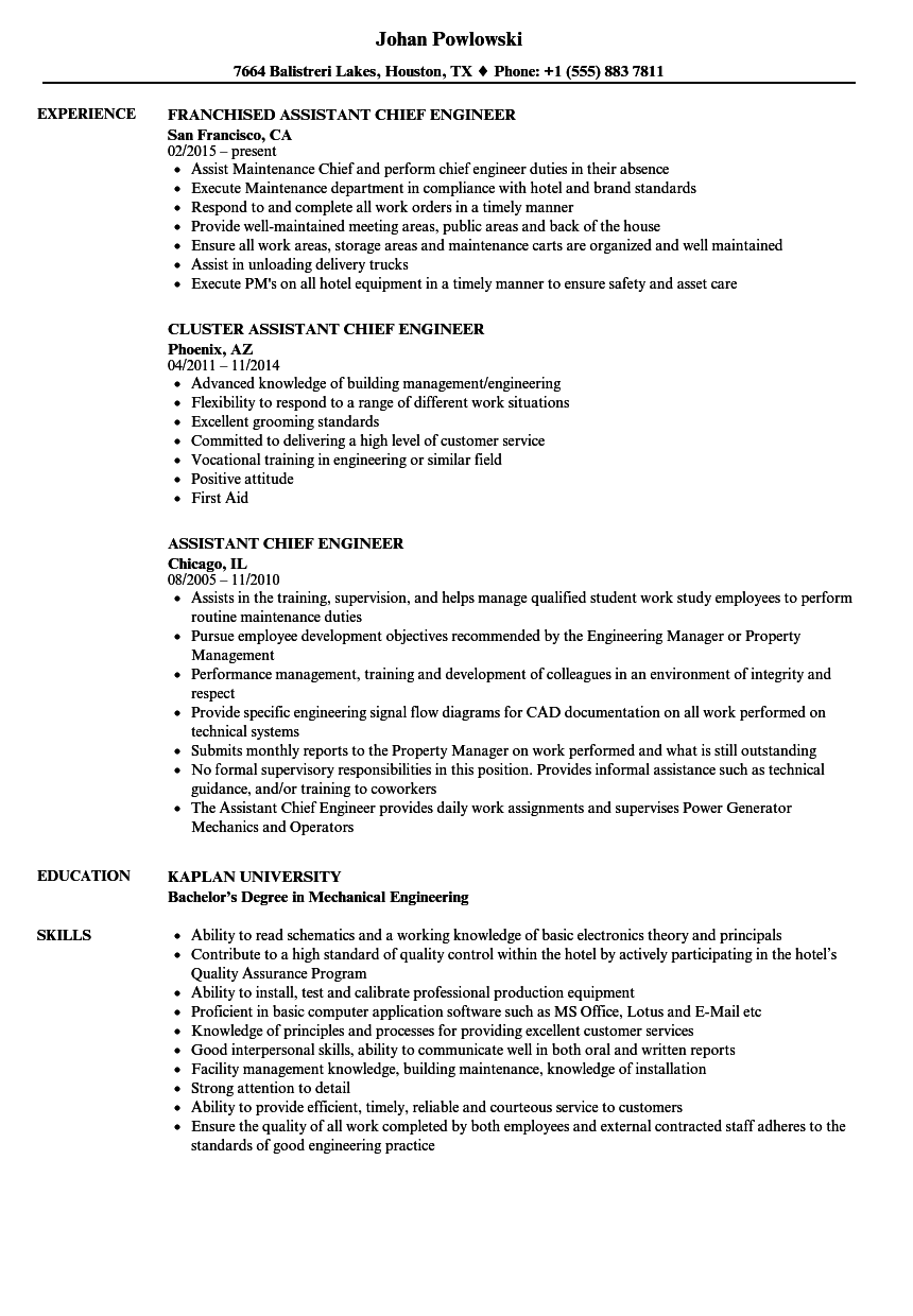 assistant chief engineer resume samples