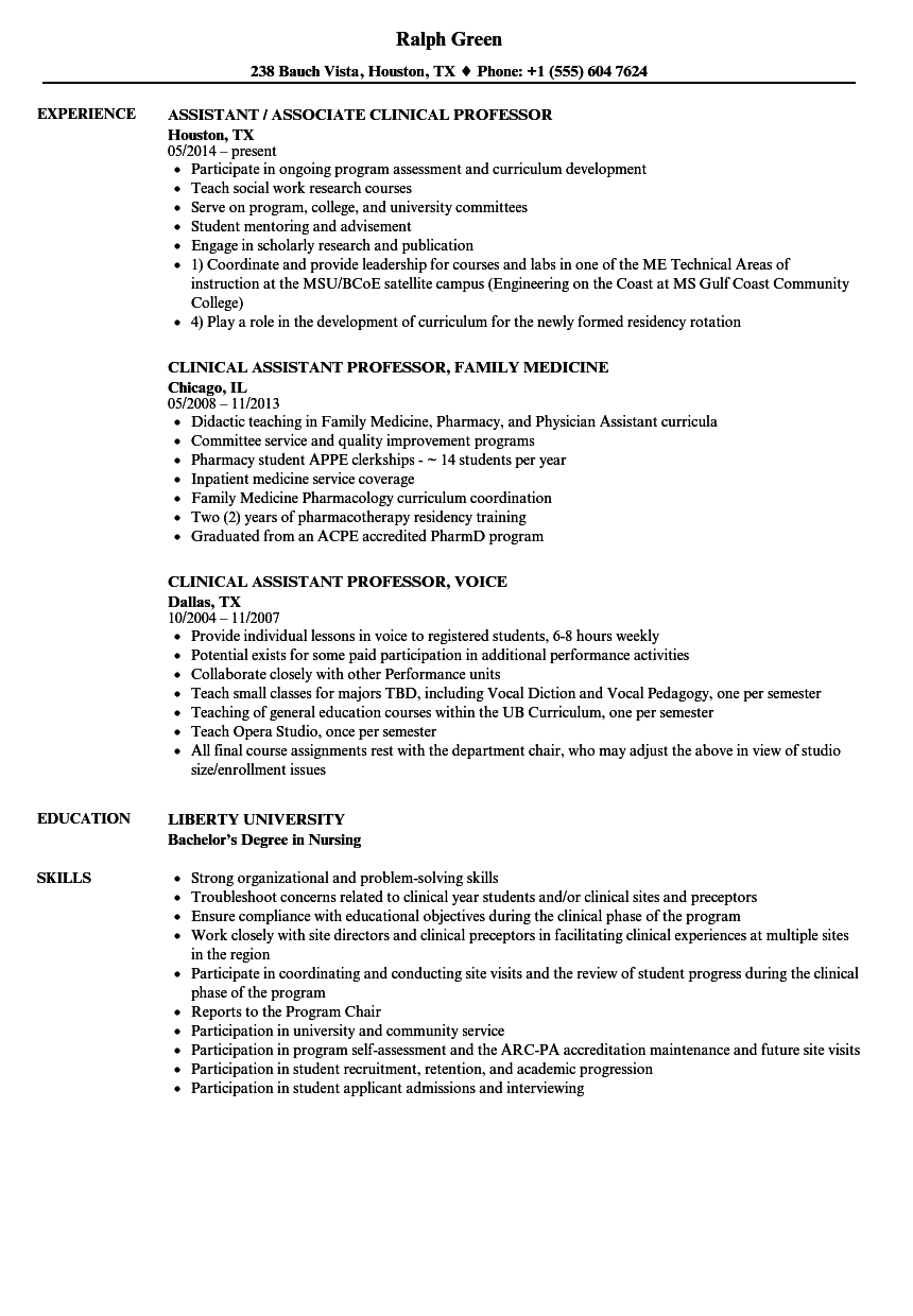 assistant clinical professor resume samples