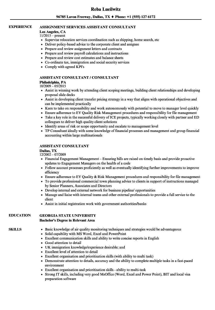 assistant consultant resume samples velvet jobs
