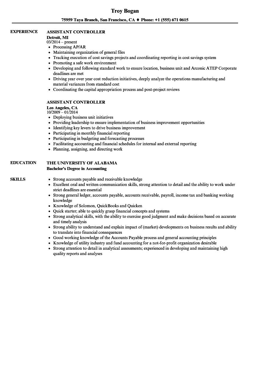 Assistant Controller Resume Samples | Velvet Jobs