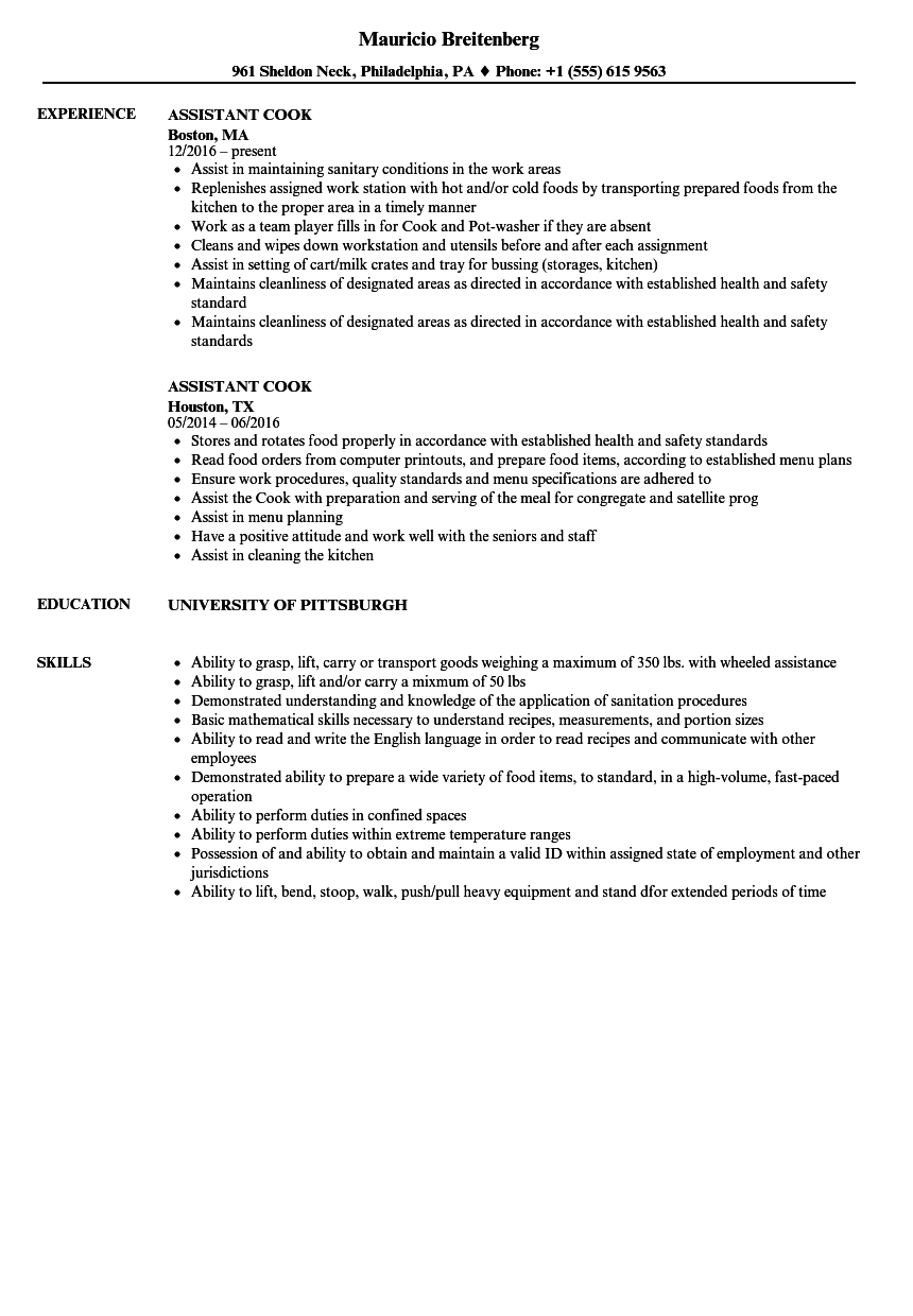 Assistant Cook Resume Samples | Velvet Jobs