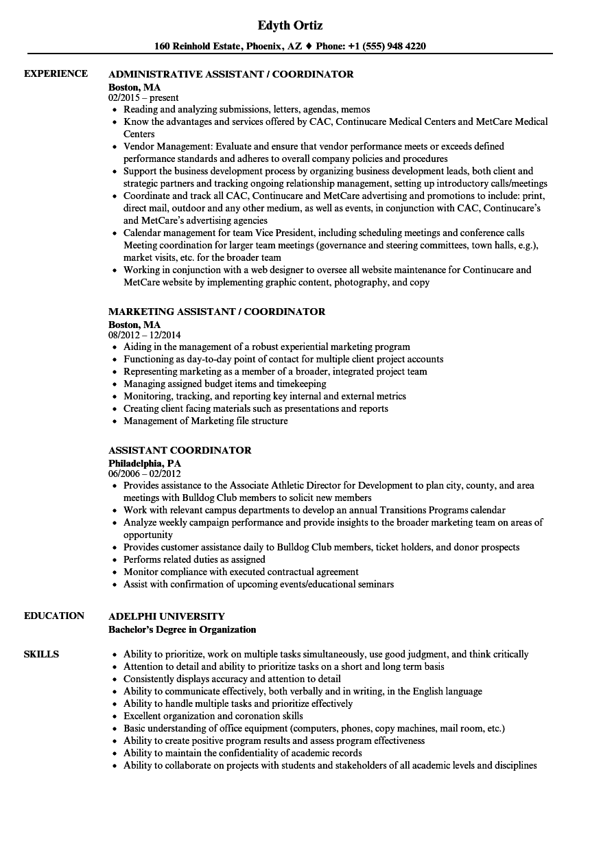 assistant coordinator resume samples
