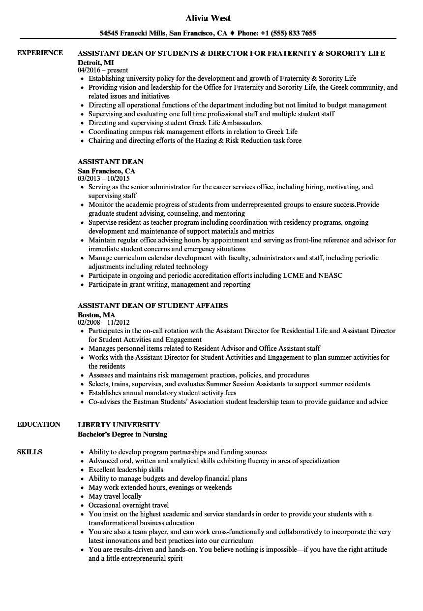 Assistant Dean Resume Samples