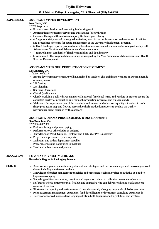 assistant  development resume samples