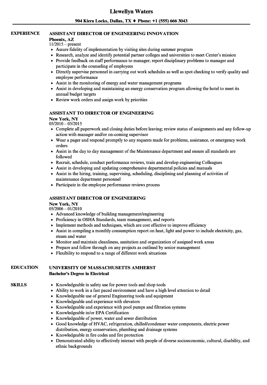 assistant director engineering resume samples velvet jobs