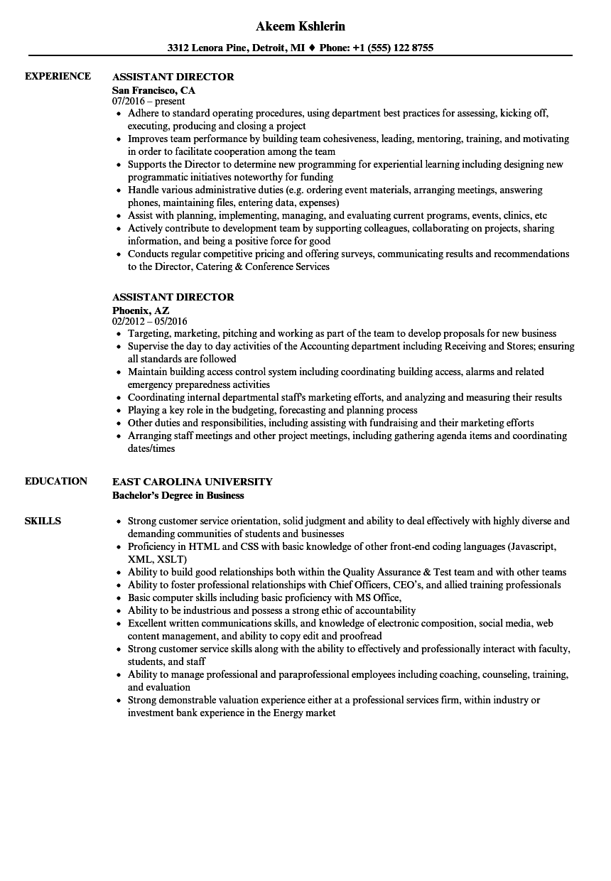 Assistant Director Resume Samples | Velvet Jobs