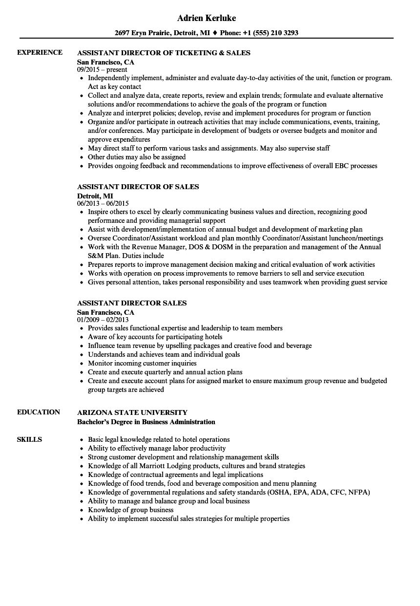 Download Assistant Director Sales Resume Sample As Image File