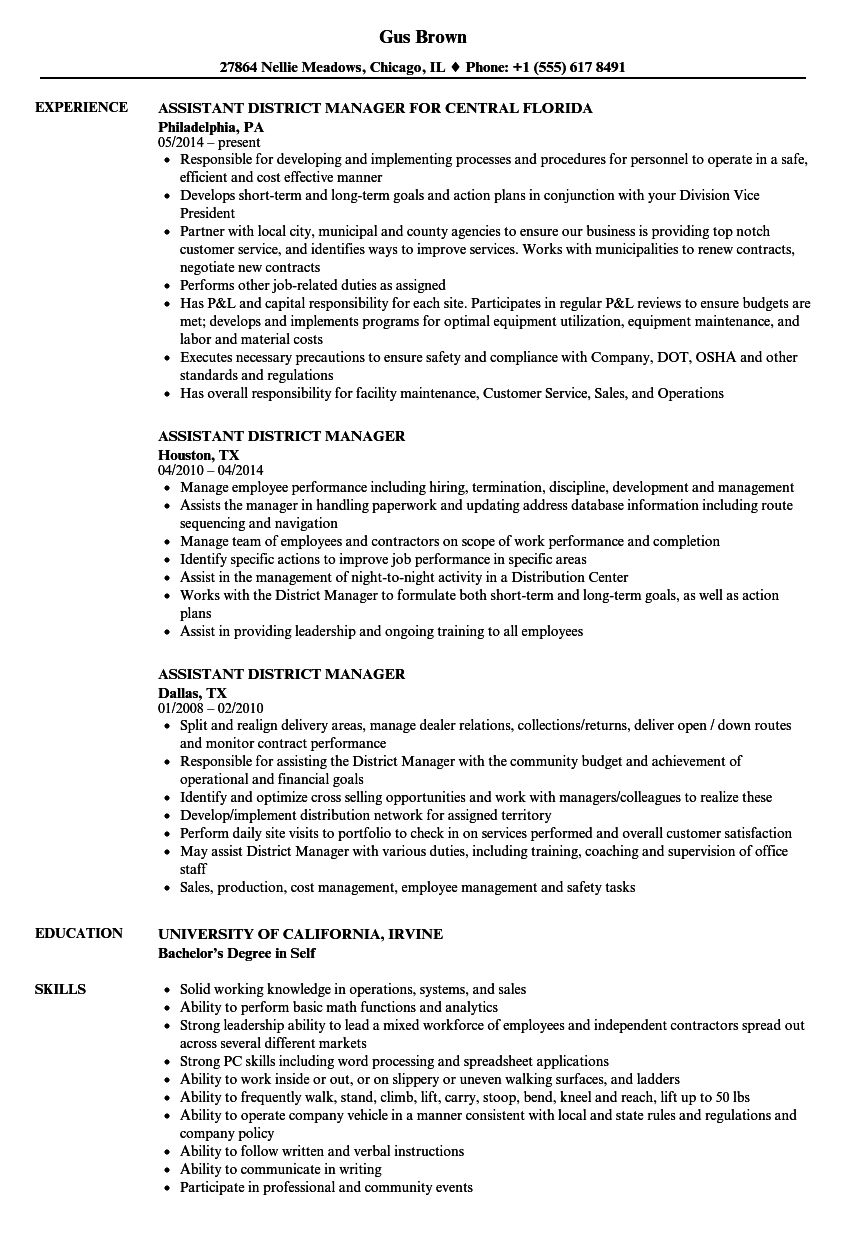Assistant District Manager Resume Samples | Velvet Jobs