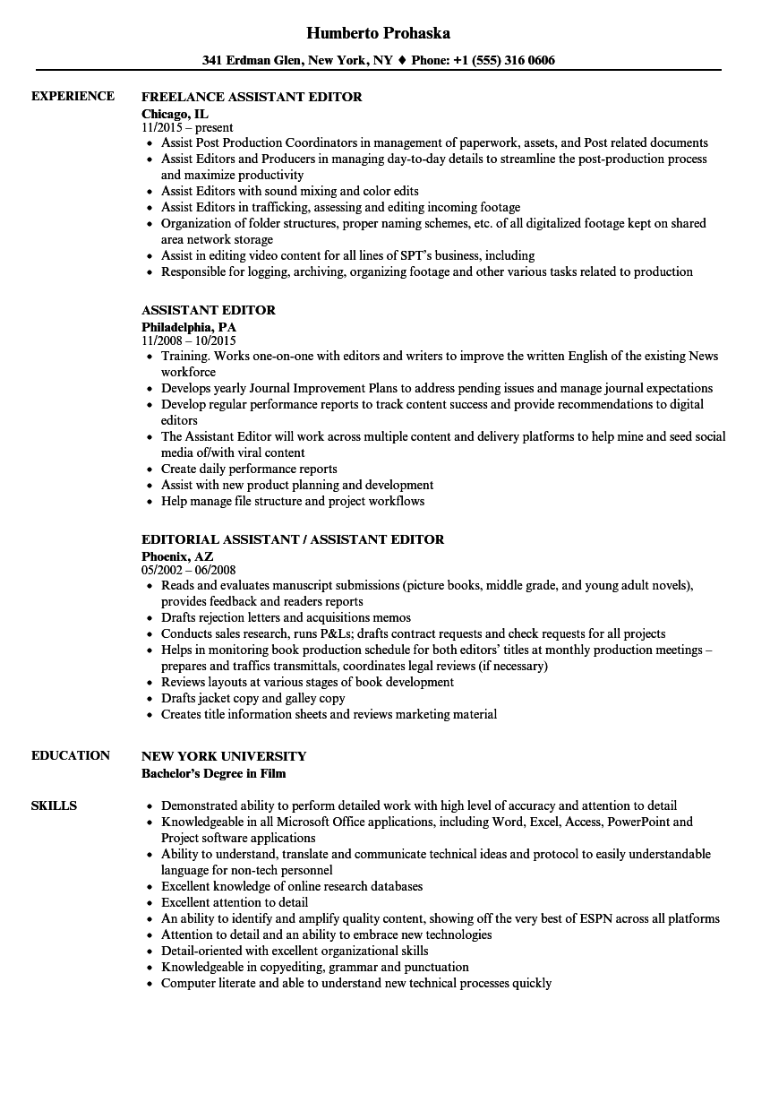 Assistant Editor Resume Samples | Velvet Jobs
