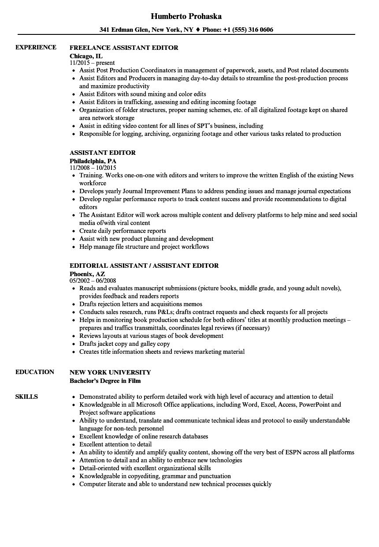Resume For Editing Job