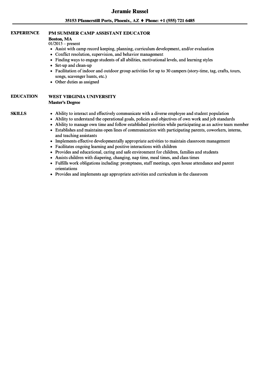 Assistant Educator Resume Samples | Velvet Jobs