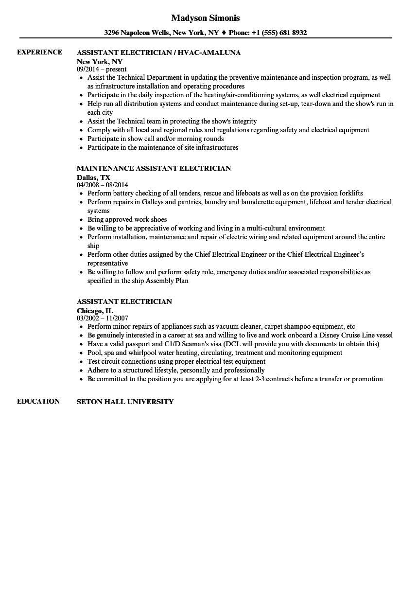 assistant electrician resume samples