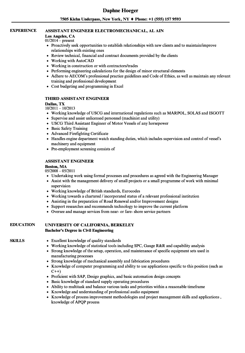 Assistant Engineer Resume Samples Velvet Jobs