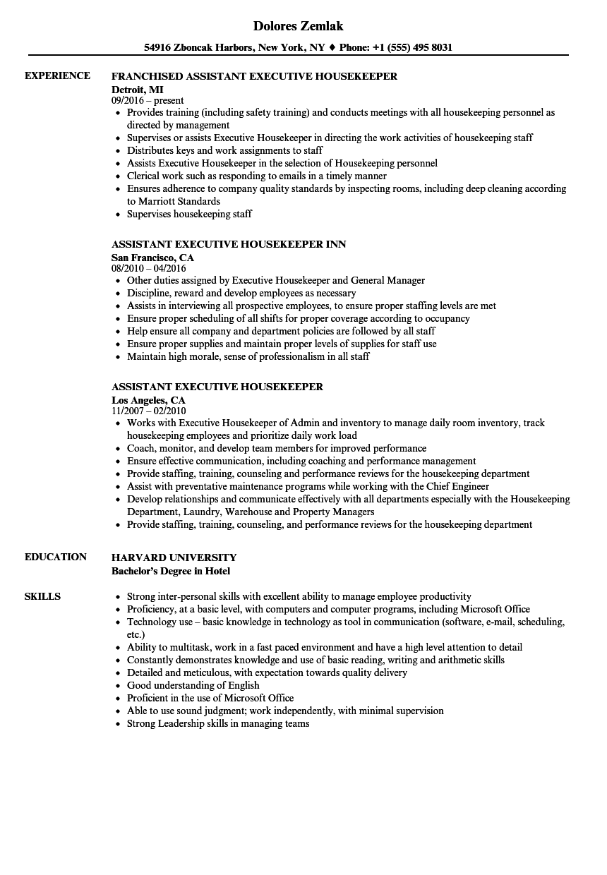 Download Assistant Executive Housekeeper Resume Sample As Image File