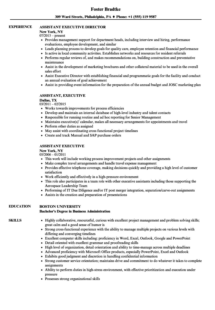assistant  executive resume samples