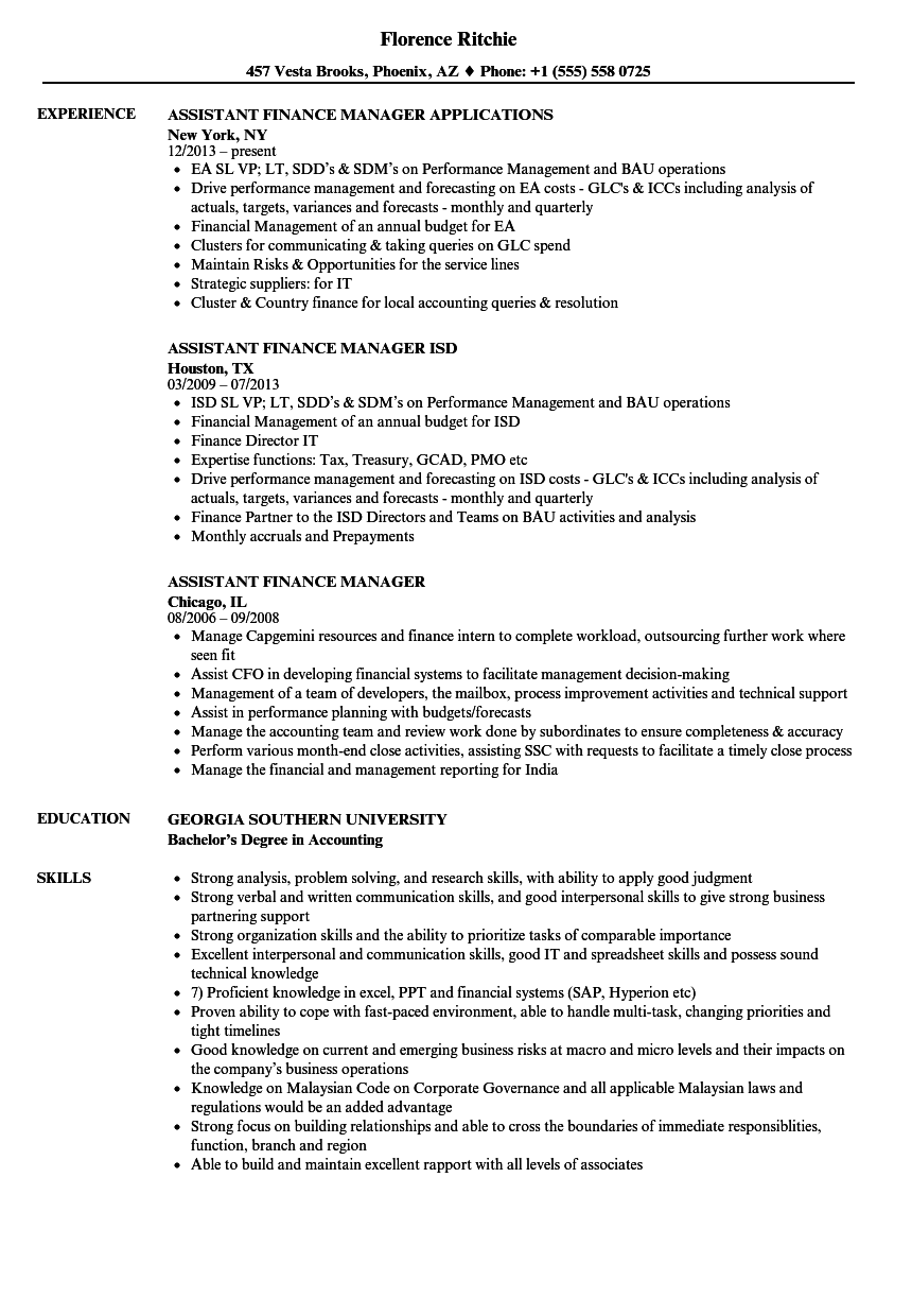 assistant finance manager resume samples
