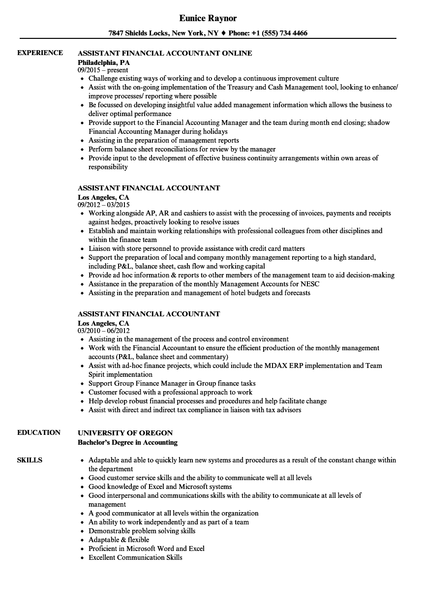 assistant financial accountant resume samples