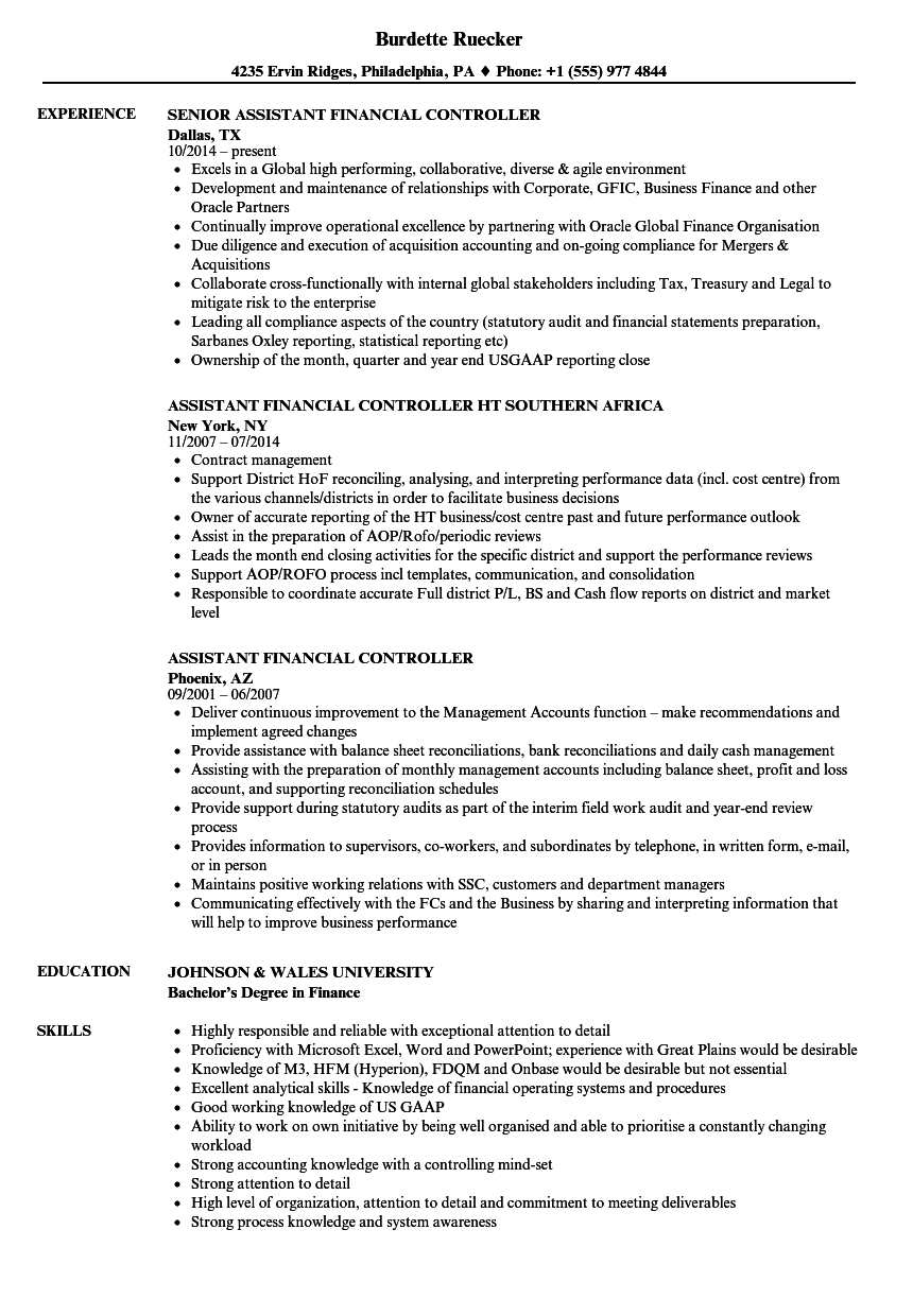 Assistant Financial Controller Resume Samples | Velvet Jobs
