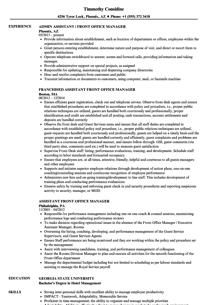 Assistant Front Office Manager Resume Samples | Velvet Jobs