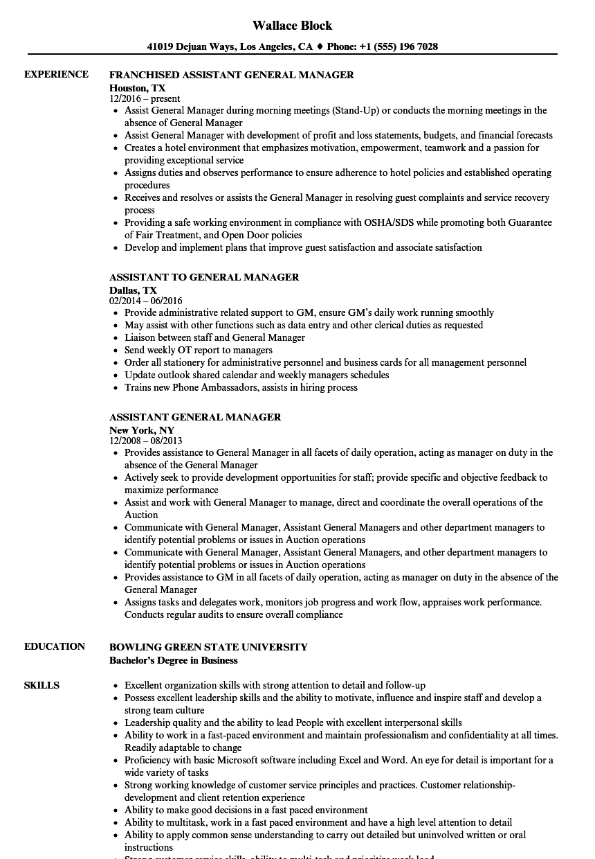 Assistant General Manager Resume Samples | Velvet Jobs