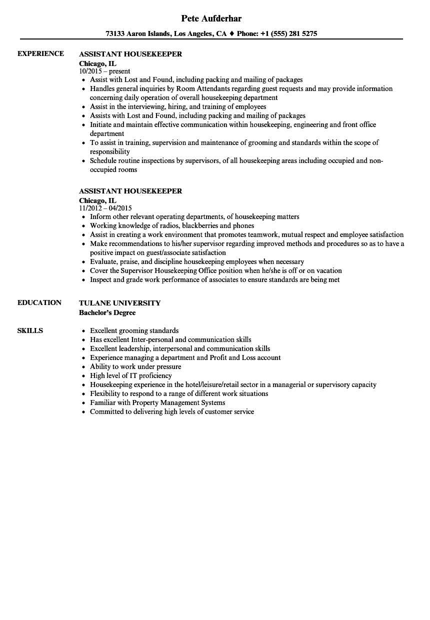 Housekeeping Resume Skills.Assistant Housekeeper Resume Samples Velvet Jobs