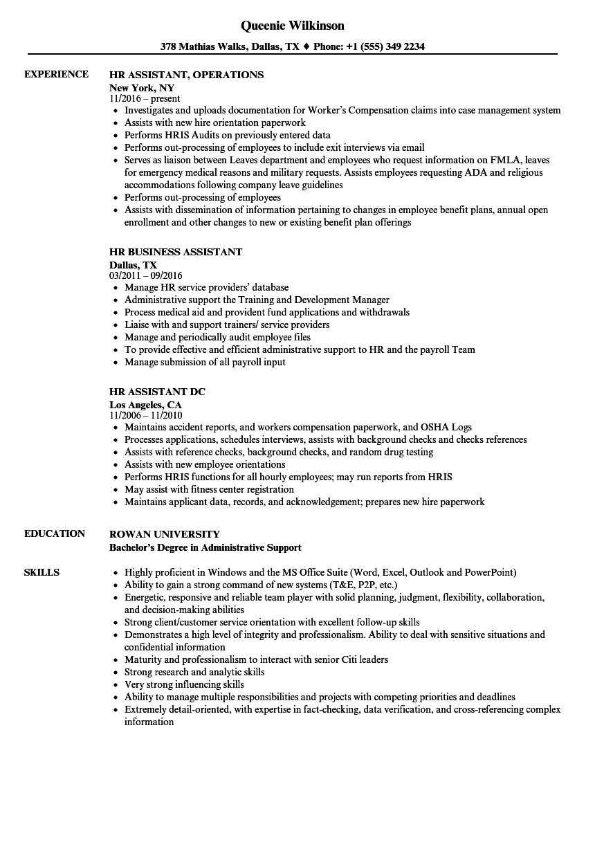 Assistant, HR Resume Samples | Velvet Jobs