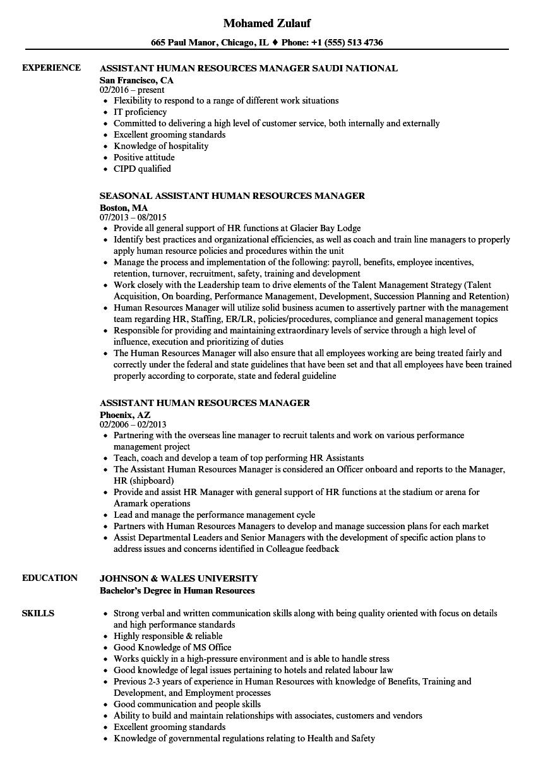 assistant human resources manager resume samples  velvet jobs