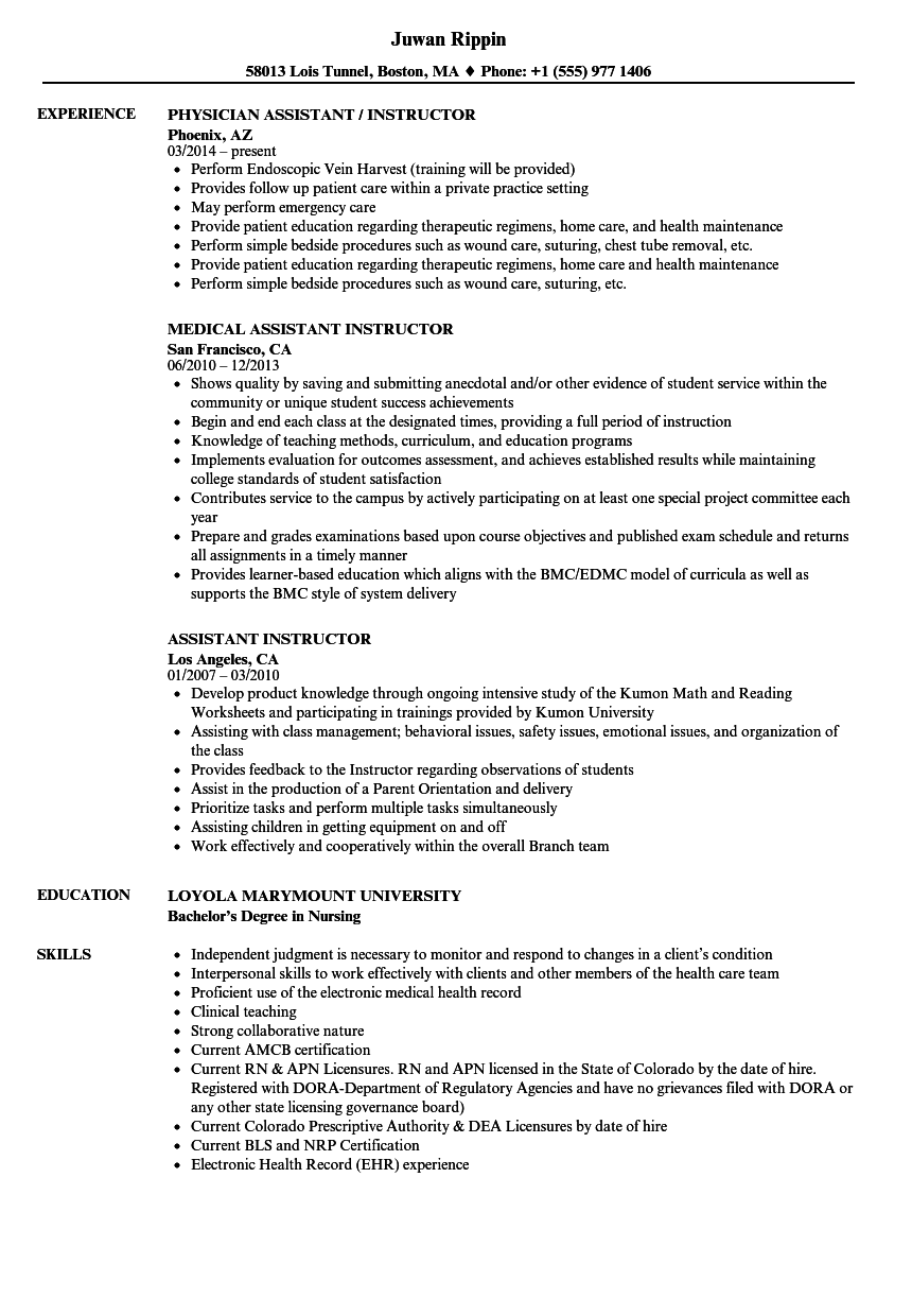 Assistant Instructor Resume Samples | Velvet Jobs