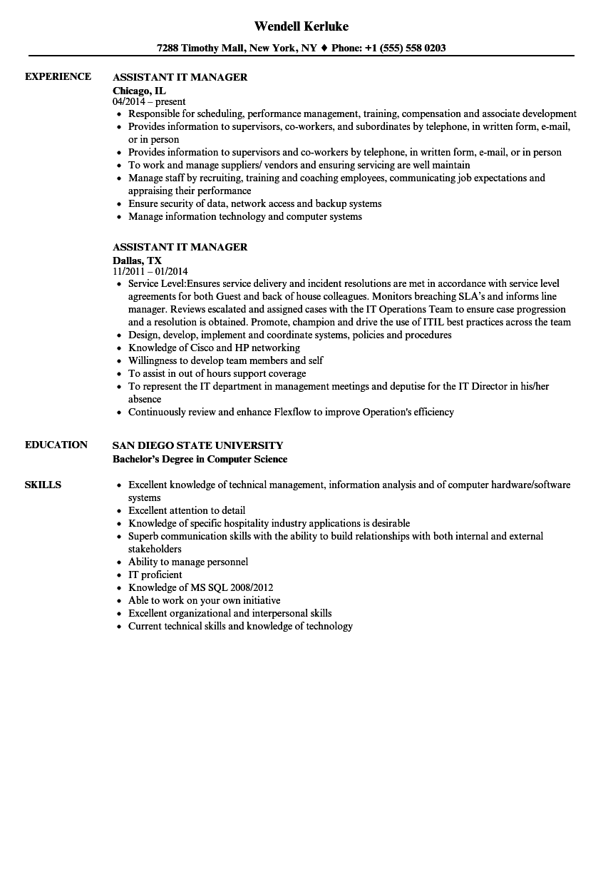 Assistant It Manager Resume Samples Velvet Jobs