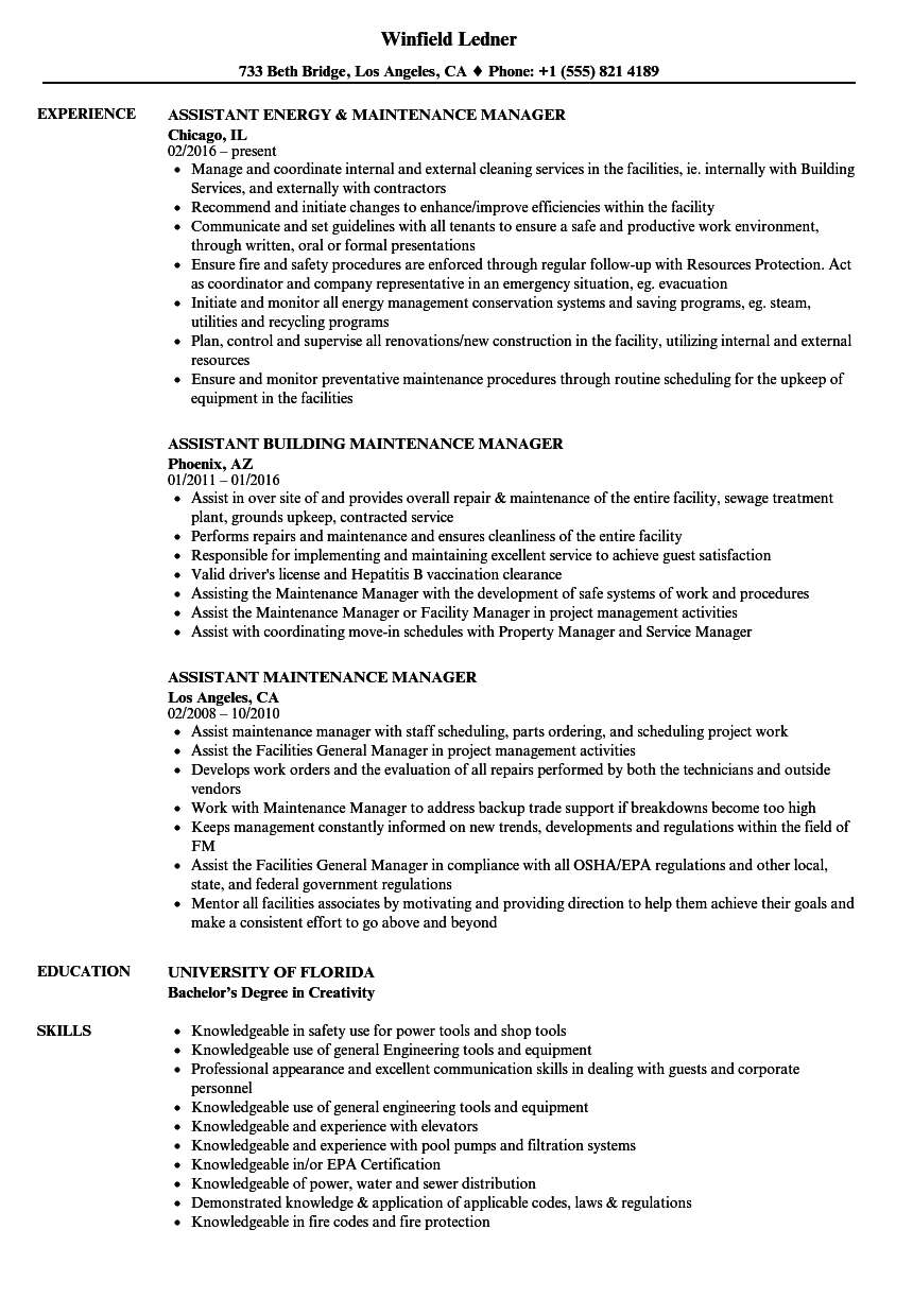 Related Job Titles. Maintenance Manager Resume Sample