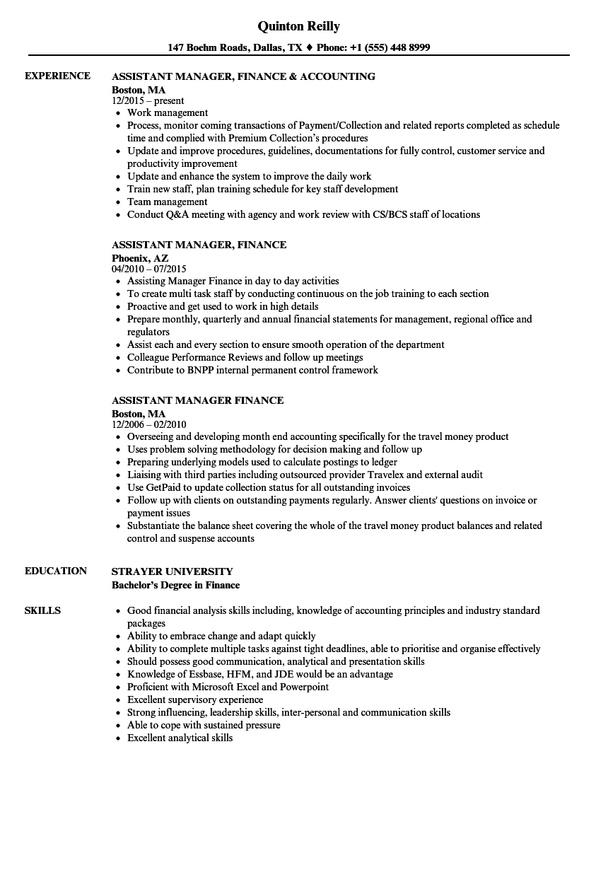 Assistant Manager, Finance Resume Samples | Velvet Jobs