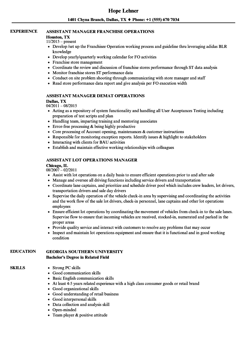 Download Assistant Manager / Manager Operations Resume Sample As Image File