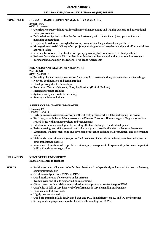 Assistant Manager / Manager Resume Samples | Velvet Jobs