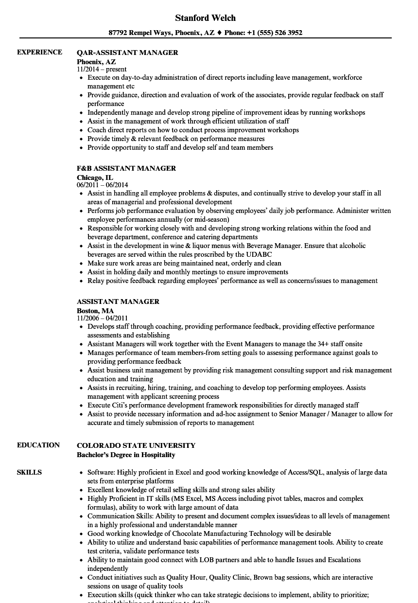 Assistant Manager Resume Samples Velvet Jobs