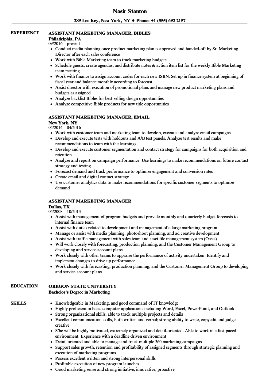 Assistant Marketing Manager Resume Samples Velvet Jobs
