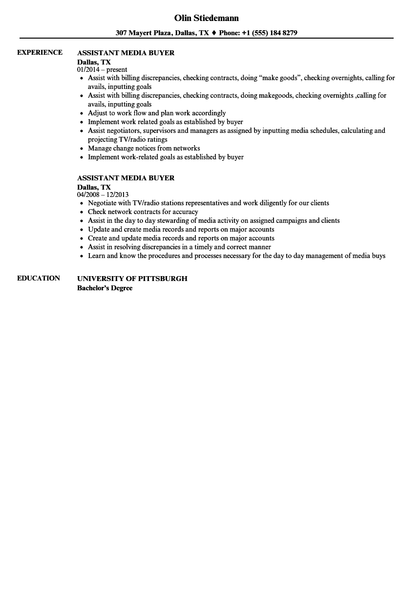 assistant media buyer resume samples