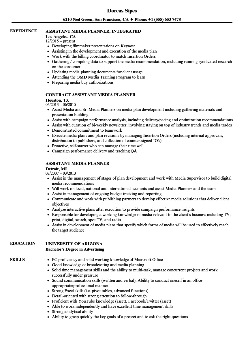 assistant media planner resume samples
