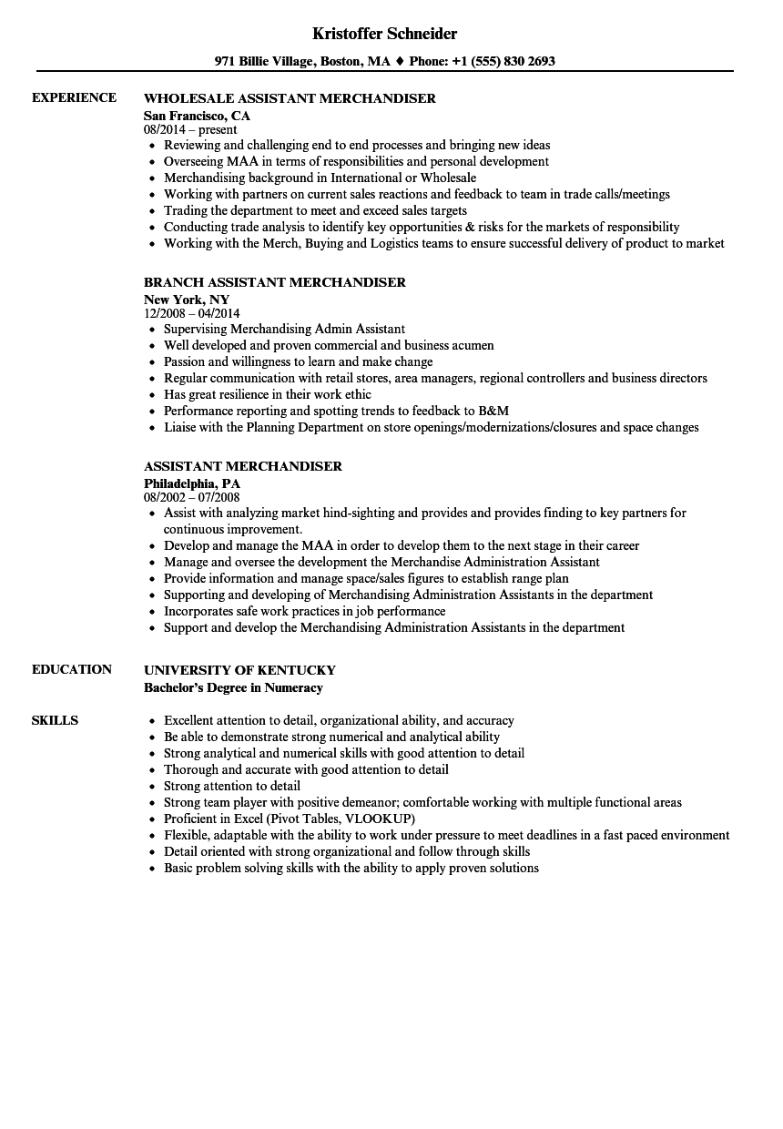 assistant merchandiser resume samples