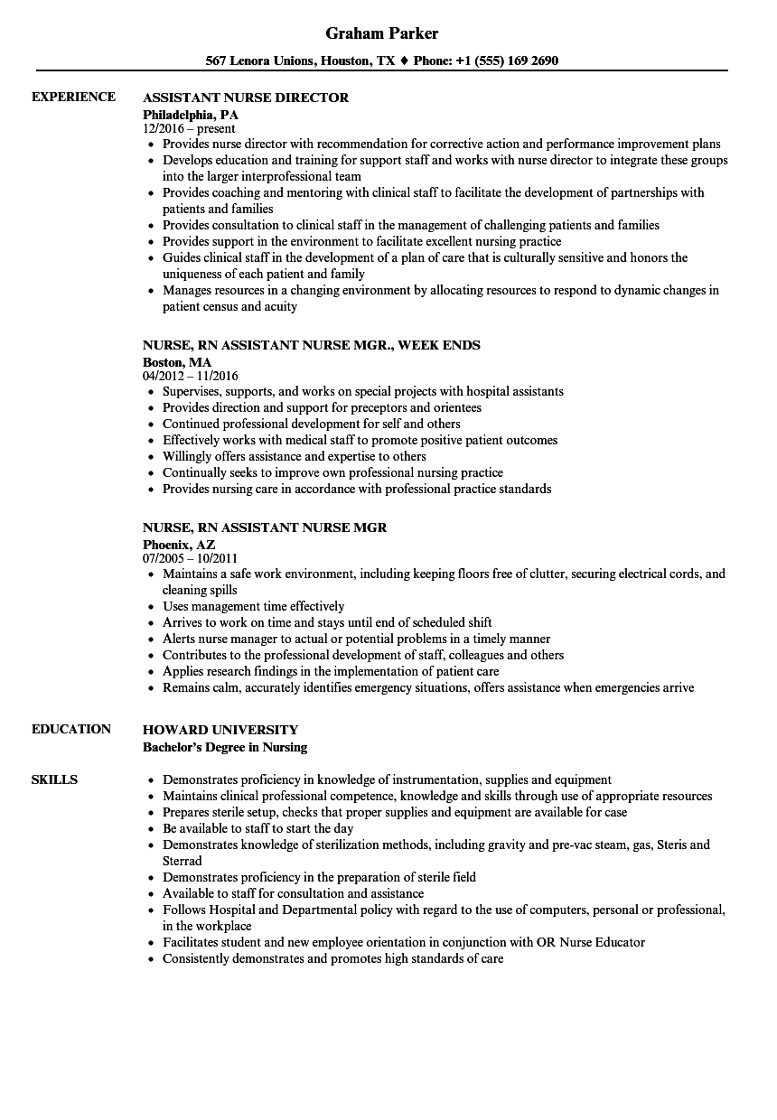 Assistant Nurse Resume Samples | Velvet Jobs