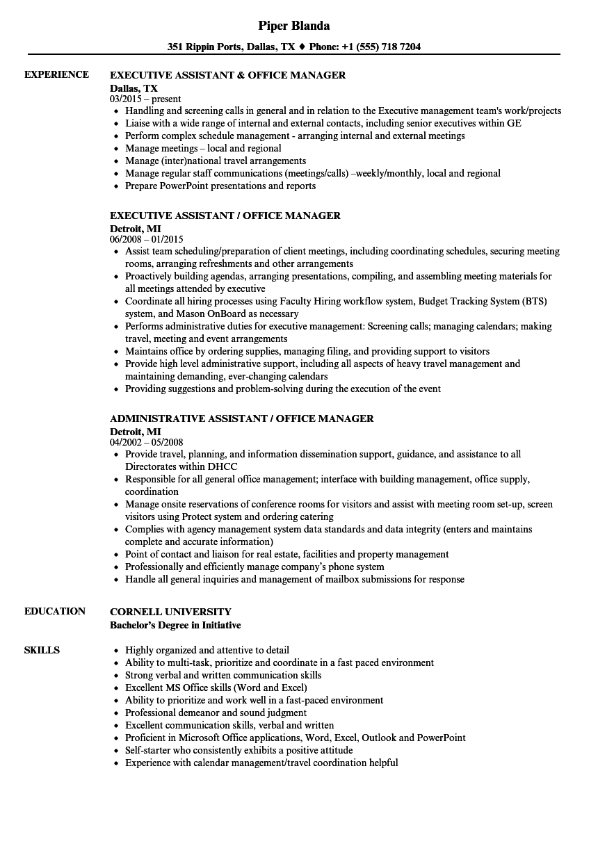 assistant office manager resume samples