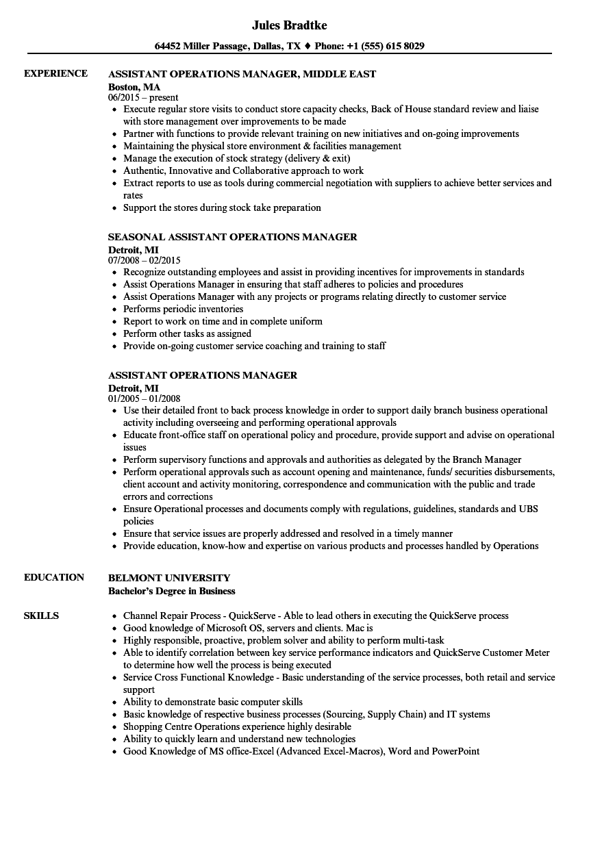 Assistant Operations Manager Resume Samples | Velvet Jobs
