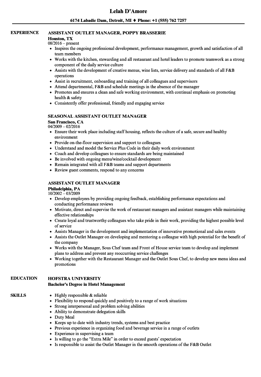 assistant outlet manager resume samples