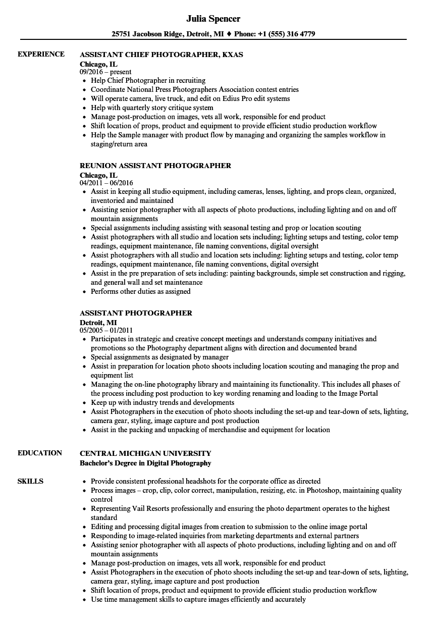 assistant photographer resume samples
