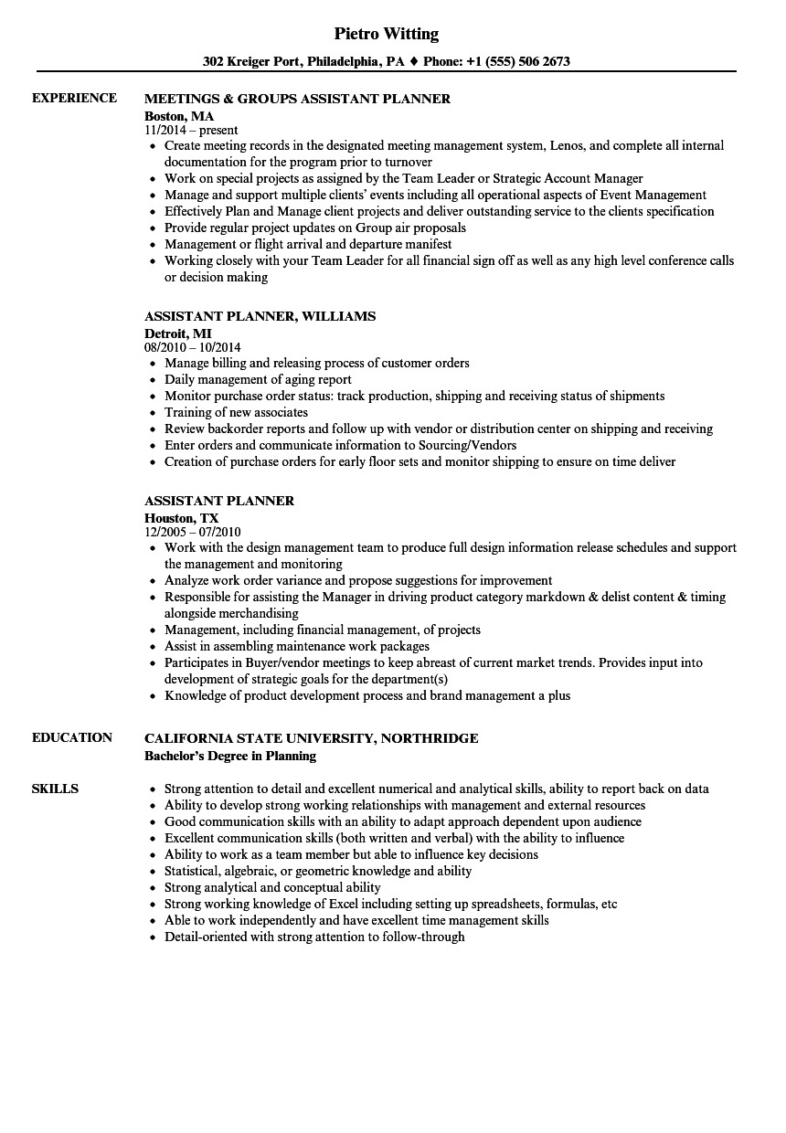 Assistant Planner Resume Samples Velvet Jobs