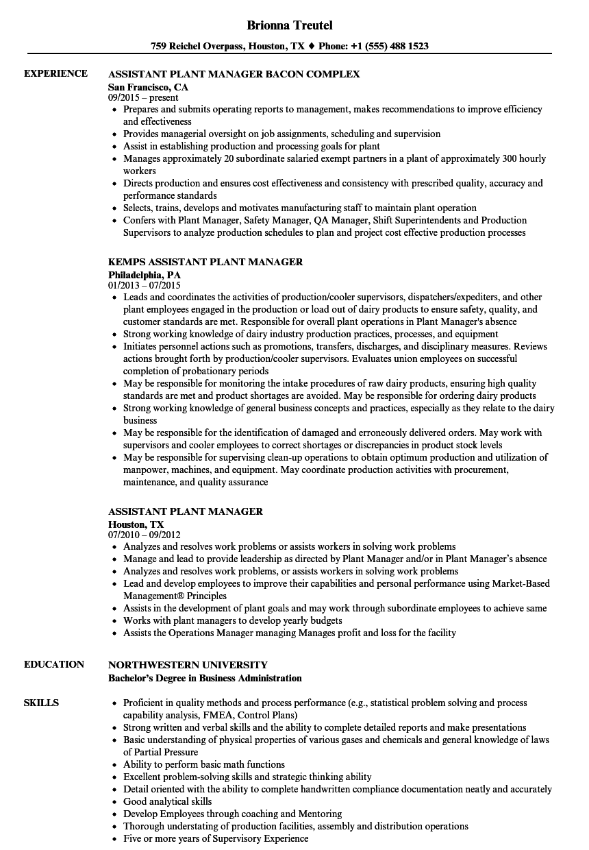 Assistant Plant Manager Resume Samples | Velvet Jobs
